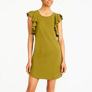 [J. Crew] Olive Green Dress w/Ruffled Sleeves